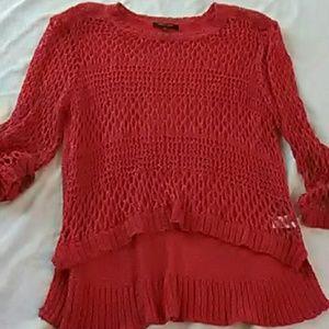 Coral Orange crochet ~fish net type pattern top